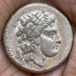 Ancient Greek Ar Silver Drachma Coin Depicting Seated Zues On Throne 7 .8 Gr