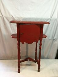 Vintage Mid Century Painted Red Wood Smoking Pipe Holder Stand With Humidor
