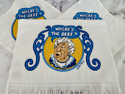 Nwt Vintage 1984 Wendy's Fast Food Where's The Beef Dish Hand Towel Washcloths