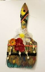 Antique Vintage Paintbrush With Flowers.one Of Kind.old Painting Brushes Decor
