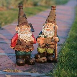 Gnome Garden Statues And Sculpture Set Of 2 Outdoor Lawn Gnomes Ready To Work