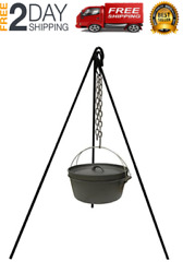 Cast Iron Camping Tripod Pot Outdoor Campfire Cooking Picnic Fire Oven Grill