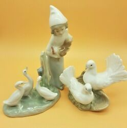 Nao Lladro Requena Spanish Porcelain Figures Geese Doves Girl With Rooster