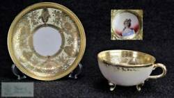 Old Noritake Portrait Womenand039s Paintings Cup Saucer Gold Color Good Condition