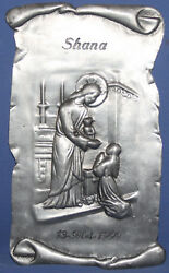 1999 French Belle Dreve Etain Religious Wall Hanging Pewter Plaque