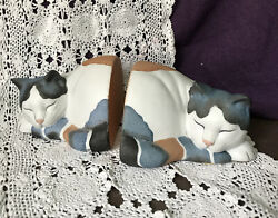 Sleeping Cats Ceramic Bookends