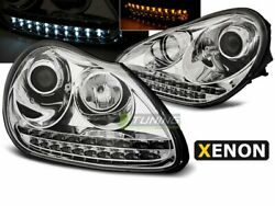 Pair Of Headlights Led Drl Look For Porsche Cayenne 1 I Daylight Chrome Hid Xeno
