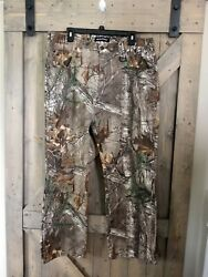 Realtree Camo Pants Jeans 36x30 Measured 37x29 Detailed Tree And Leaf Design