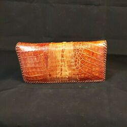 Vintage Genuine Alligator Wallet Purse Clutch Brown Leather 40and039s-50and039s