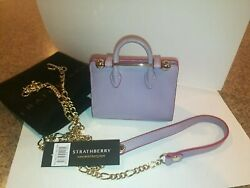 Strathberry Miniature Crossbody Shoulder Leather Chain Tote Bag Purple NWT $198.00