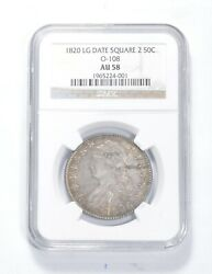 Au58 1820 Capped Bust Half Dollar - Lg Date - Square 2 - O-108 - Ngc 0848