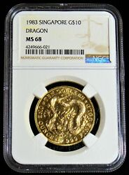 Singapore 1988 Gold 1 Oz. Lunar Year Of The Dragon Ngc Ms-68.