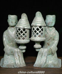 Old Western Han Dynasty Bronze Ware Silver Palace Lantern Beauty Statue Pair