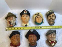 Bosson Chalkware Heads Lot Of 7 Wall Mountable Made In England