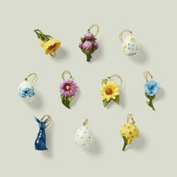 Lenox Floral Easter 10 Piece Tree Ornaments - New In Lenox Gift Box