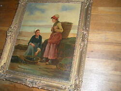 Antique 19 C Signed F Underhill Oil On Canvas Painting Wood Frame Internatl Sale