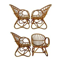 Set Of 4 Franco Albini Style Rattan Scoop Chairs Lounge Dining Midcentury Modern