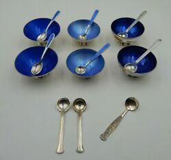Lot Of Vintage Denmark Sterling Silver And Silver Plated Salt Cellars With Spoons