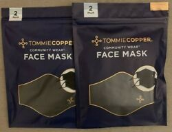 New Tommie Copper Community Wear 4 Face Masks Two 2 Packs Black 100 Authentic
