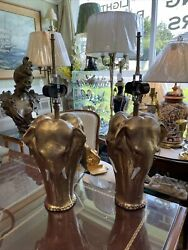 Pair Of Three Headed Elephant Spelter Table Lamps