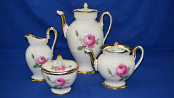 Meissen Pink Rose Coffee Pot 9 Teapot 5 Creamer 5 5/8 And Sugar Bowl With Lid