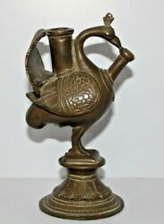 Genuine Antique Brass Peacock Shape Hookah With Stand 1800's