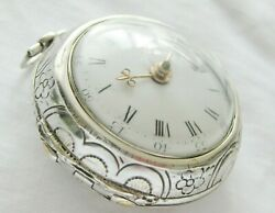 Verge Fusee Pocket Watch William Ball Mevagissey With Repousse Case, Year 1780