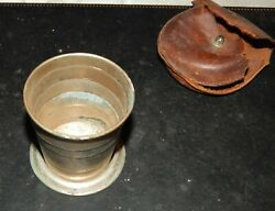 Antique Folding Cup In Original Leather Case. Rumpp Leather Co.