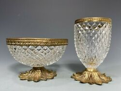 Set Of 2 French France Glass And Brass Hardware Dresser Vessels Ca. 20th Century