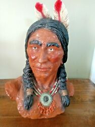 Universal Statuary Corp. Chicago 1972 Native American Bust By V. Kendrick