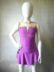 Ice Skating Dress Adult Xs Orchid Notched Front Lycra With Nude Meshandnbsp H1262 Nwt