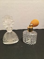 Vintage I.w.rice And Co Perfume Bottles Lot /2 W/ Atomizer And Floral Stopper