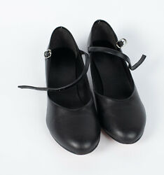 Women#x27;s girls Black Character Shoes 7.5L 1.25quot; Heel Dance Musical Theater Strap