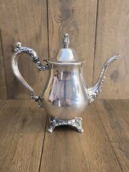 Vintage Oneida Silverplate Footed Coffee / Tea Pot 9.25 Inches Tall 10 Inches Wi