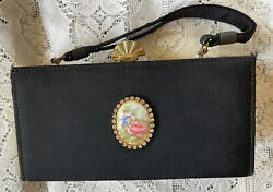 Vintage Black Evening Bag Cloth And Metal With Rhinestone And Cameo Medallion. $12.95