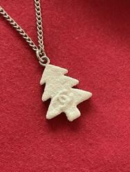 Vintage Necklace Silver Christmas Tree Motif Charm Length 16.5 In.