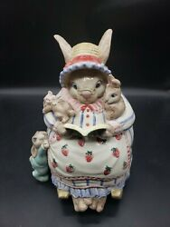 Retired Fitz And Floyd Bunny Bonnet Hill Rabbit Hand Painted Cookie Jar 1992 Rare
