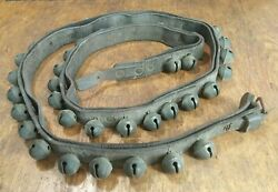 Rare Double Strap 79 Inch Leather Belt 45 Count Antique Brass Sleigh Bells