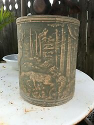 Rrp Co. Crooksville Brush Ware Sand Jar Stag And Deer Light Green Mint Condition