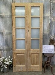 8 Pane French Glass Doors, Antique French Double Doors, Old Wood Doors, M13