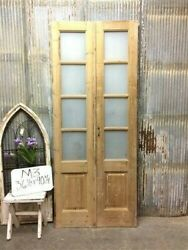 8 Pane French Glass Doors, Antique French Double Doors, Old Wood Doors, M3