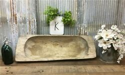 Large Antique Wooden Bread Dough Bowl Trencher French Carved Dough Bowl K