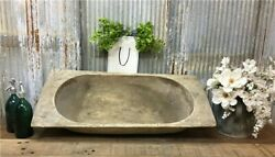 Large Antique Wooden Bread Dough Bowl Trencher French Carved Dough Bowl U