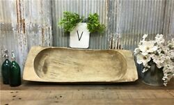 Large Antique Wooden Bread Dough Bowl Trencher French Carved Dough Bowl V