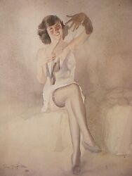 Erotic Painting Signed Tom Gilfillan Listed Artist Art Deco