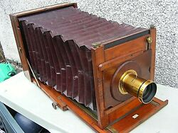 Antique Wooden Camera Lejeune And Rayments Patent Camera And Plates 12 X 10