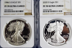 1986 S Siver Eagle Pf70 First Year Matched Label 2020 S Pf70 Silver Eagle Set