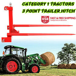 """2x 49""""hay Spear Quick + 3 Point Trailer Hitch 2 Receiver For Category 1 Tractor"""