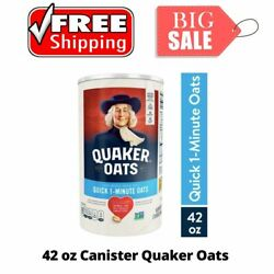 Breakfast And Cereal New Quaker Oats, Quick 1 Minute Oatmeal, 42 Oz Canister