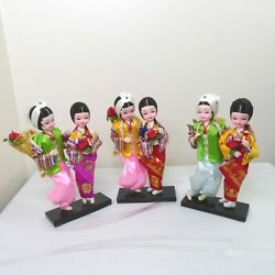 3pc Lot Of Vintage Korean Traditional Native Dolls Male And Female Wedding Pair